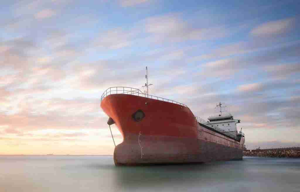 Red tanker / ship on the sea